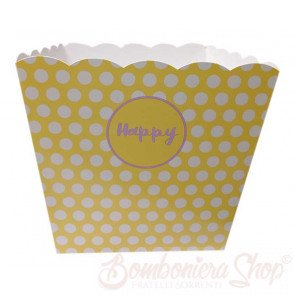 Box Pop Corn Happy Giallo misura grande