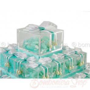 Torta piramide 60 cubi plexiglass colore tiffany